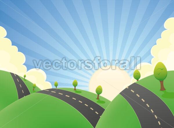 Cartoon Landscape Road In The Summer - Vectorsforall