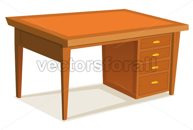 Cartoon Office Desk - Vectorsforall