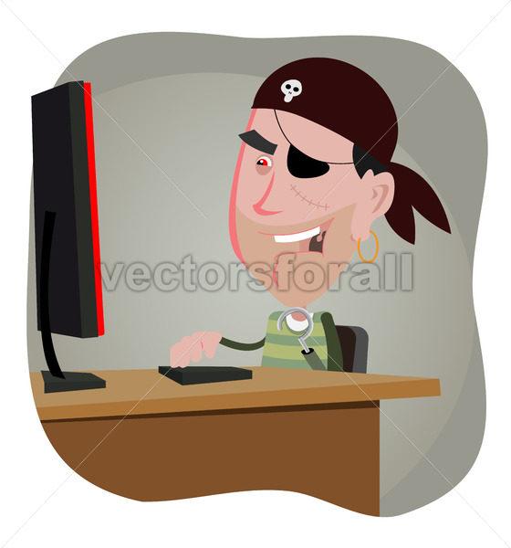 Cartoon Pirate Hacker - Benchart's Shop