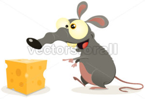 Cartoon Rat And Piece Of Cheese - Benchart's Shop