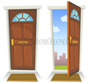 Cartoon Red Door, Open And Closed - Vectorsforall