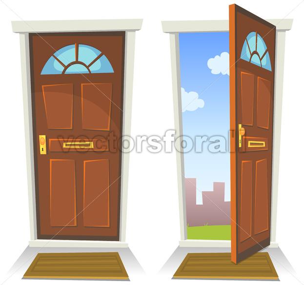 Cartoon Red Door, Open And Closed - Vectorsforall