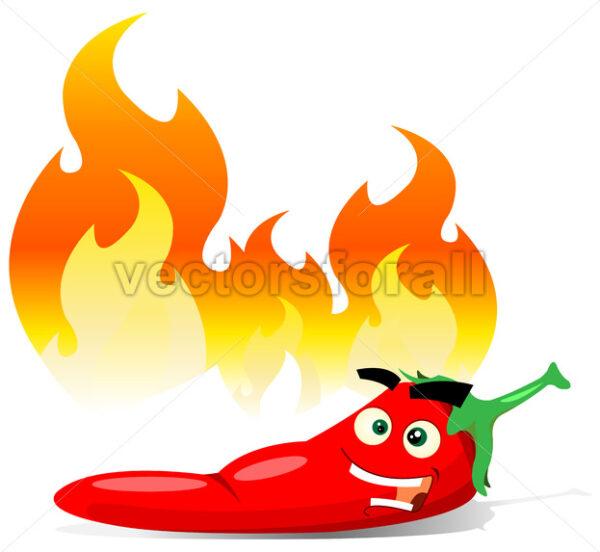 Cartoon Red Hot Chili Pepper - Vectorsforall