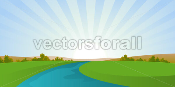 Cartoon River Landscape - Vectorsforall