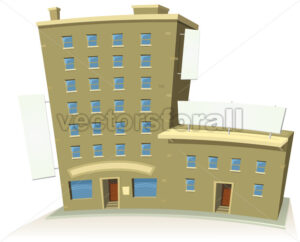 Cartoon Shop Building With Apartments And Banners - Vectorsforall