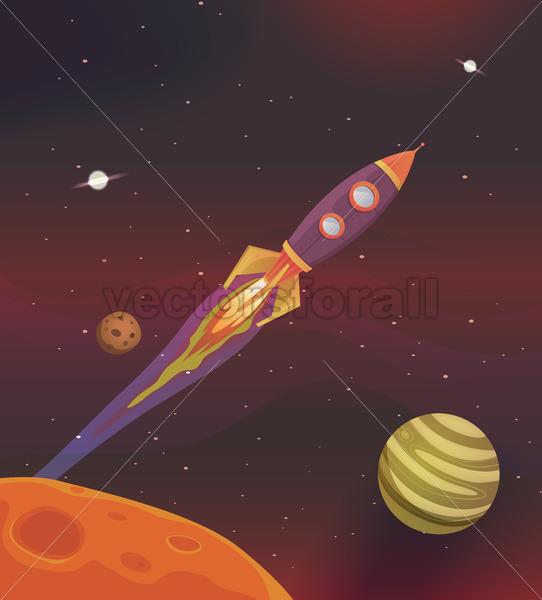 Cartoon Spaceship Flying Into Galaxy - Vectorsforall