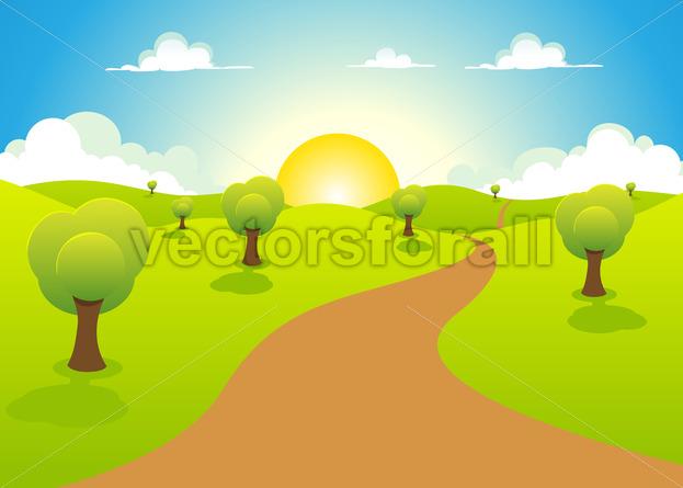 Cartoon Spring Or Summer Landscape - Benchart's Shop