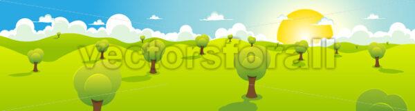 Cartoon Spring Or Summer Landscape Header - Vectorsforall
