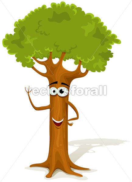 Cartoon Spring Tree Character - Vectorsforall