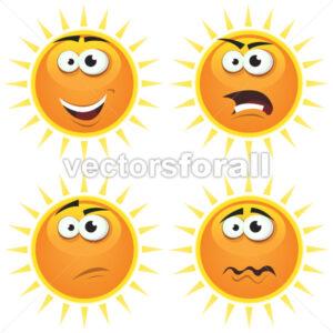 Cartoon Sun Icons Emotions - Vectorsforall