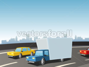 Cartoon Truck On Highway - Benchart's Shop