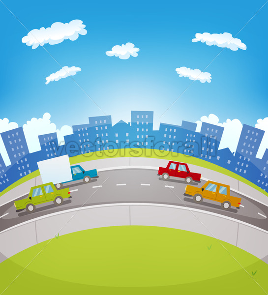 Cartoon Urban Traffic - Vectorsforall