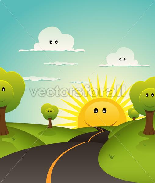 Cartoon Welcome Spring Or Summer Landscape - Vectorsforall