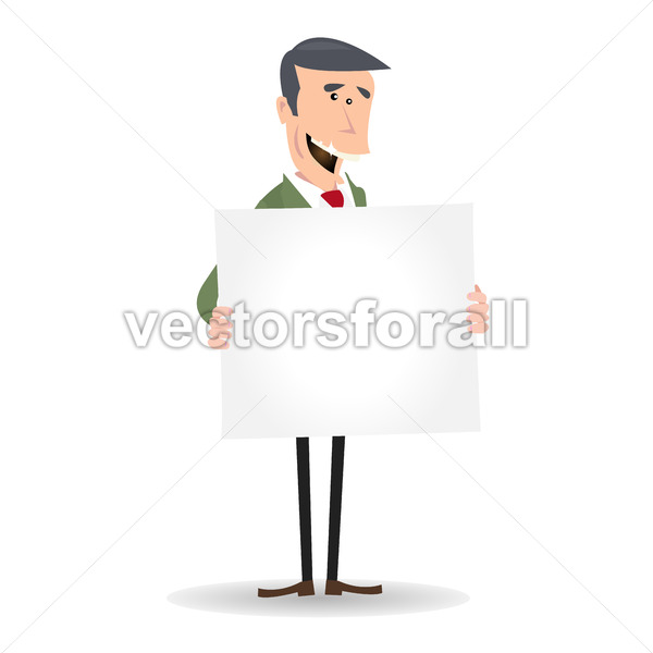 Cartoon White Businessman Blank Sign - Vectorsforall