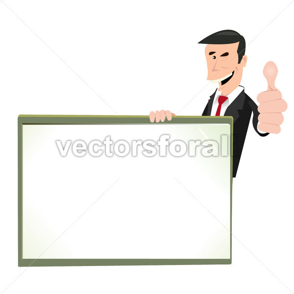 Cartoon White Businessman Blank Sign - Vectorsforall