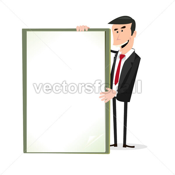Cartoon White Businessman Holding A Blank Sign - Vectorsforall