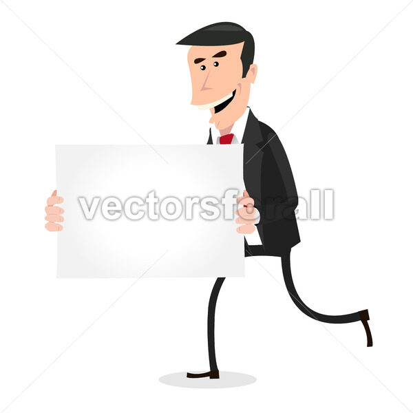 Cartoon White Businessman Running with Blank Sign - Vectorsforall