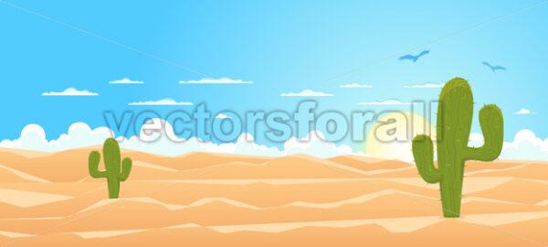 Cartoon Wide Desert - Vectorsforall
