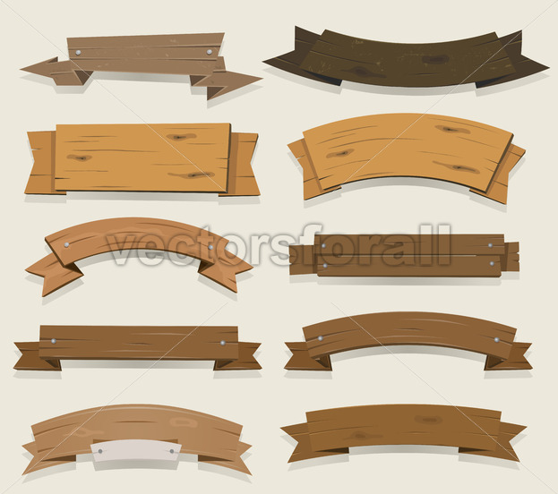 Cartoon Wood Banners And Ribbons - Vectorsforall