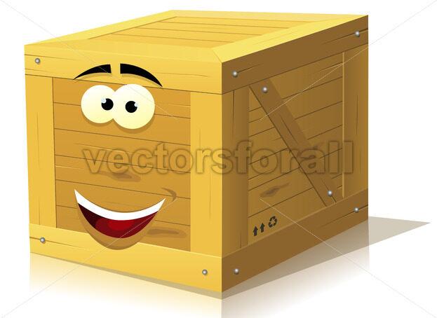 Cartoon Wood Box Character - Vectorsforall