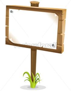 Cartoon Wood Sign - Vectorsforall