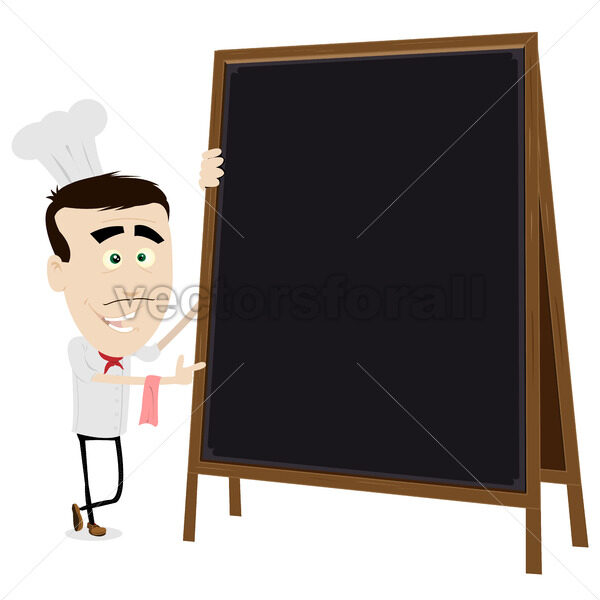 Chef Cook Holding A Blackboard - Vectorsforall
