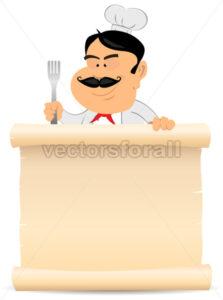 Chef Cook Holding Parchment Menu - Benchart's Shop