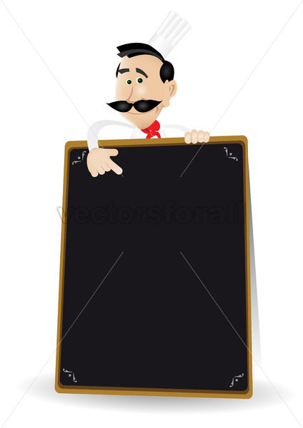 Chef Menu Holding A Blackboard - Benchart's Shop