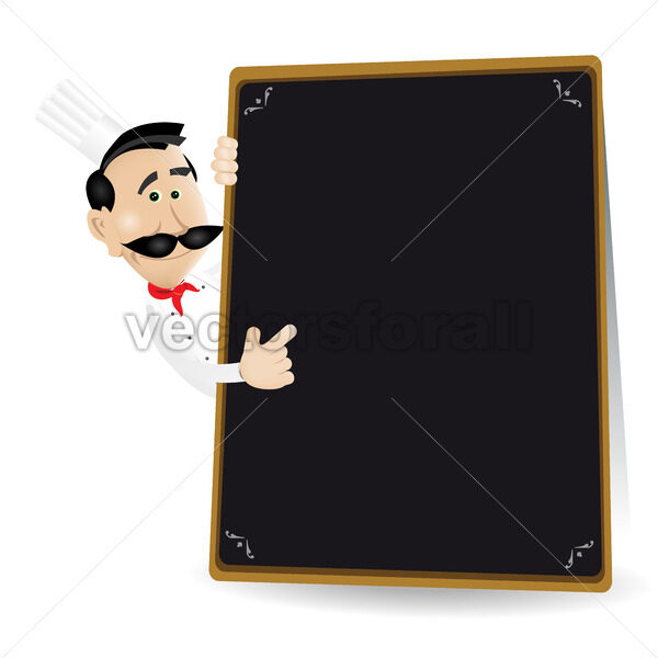 Chef Menu Holding A Blackboard Showing Today's Special - Vectorsforall