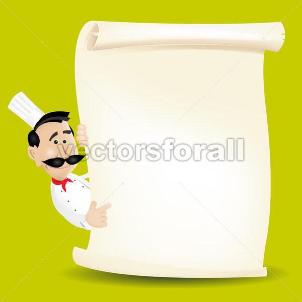 Chef Menu Holding A Parchment Menu - Vectorsforall