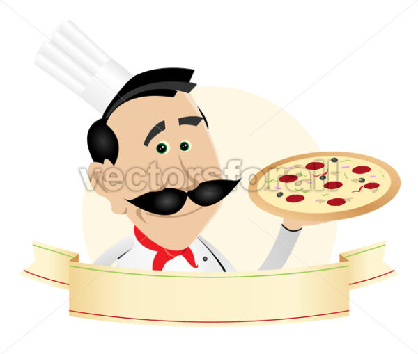 Chef Pizza Restaurant Banner - Vectorsforall