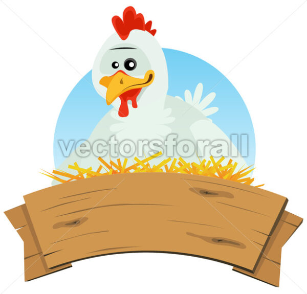 Chicken Nest And Wood Banner - Vectorsforall
