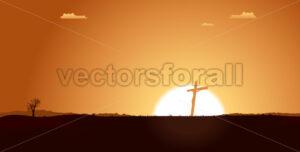 Christian Cross Inside Desert Landscape - Benchart's Shop