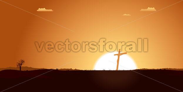 Christian Cross Inside Desert Landscape - Vectorsforall