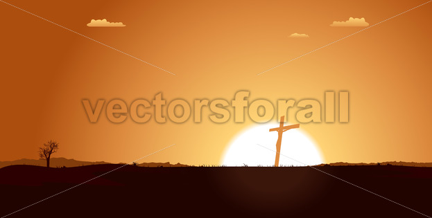 Christian Cross Inside Desert Landscape - Benchart's Shop