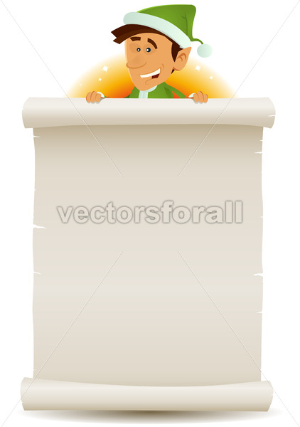 Christmas Elf And Gift List On Parchment - Vectorsforall