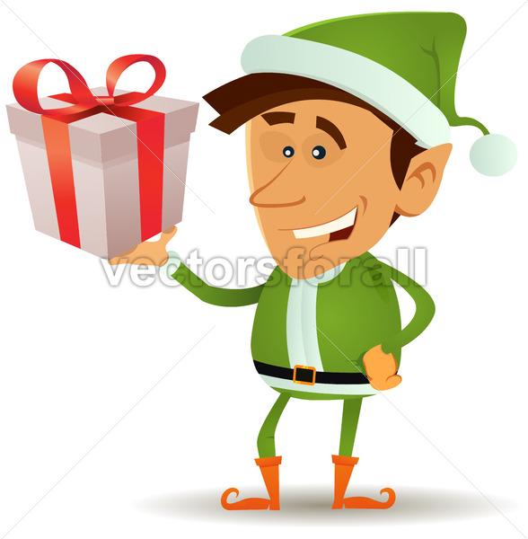 Christmas Elf Holding Gift - Vectorsforall