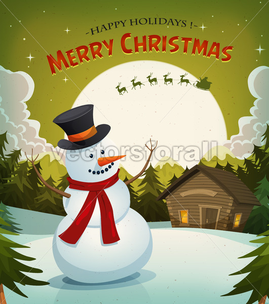 Christmas Eve With Snowman Background - Vectorsforall