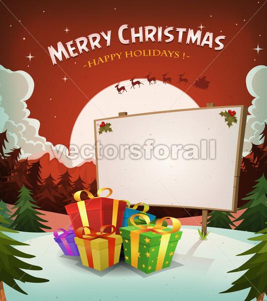 Christmas Holidays Landscape Background - Vectorsforall
