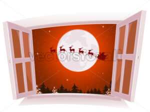 Christmas Landscape Outside The Window - Vectorsforall