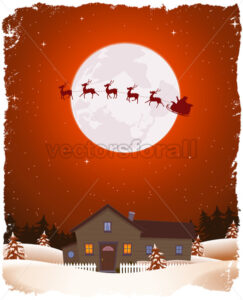 Christmas Red Landscape And Flying Santa - Vectorsforall