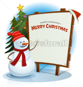 Christmas Snowman And Wood Sign Background - Vectorsforall