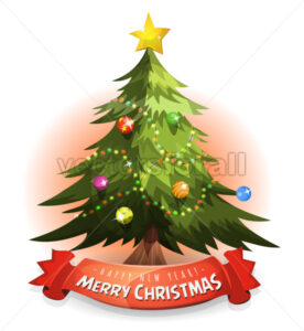 Christmas Tree With Wishes Banner - Vectorsforall