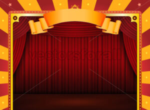 Circus Poster With Stage And Red Curtains - Benchart's Shop