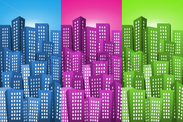 Cityscape Backgrounds Set - Vectorsforall