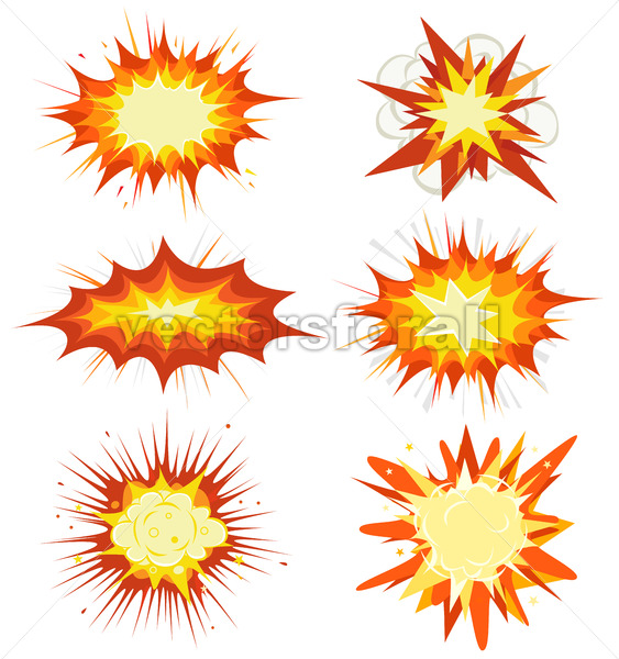 Comic Book Explosion, Bombs And Blast Set - Vectorsforall