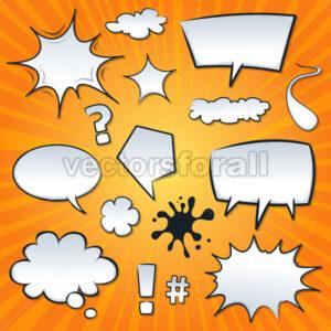 Comic Speech Bubbles And Splashes Set - Vectorsforall