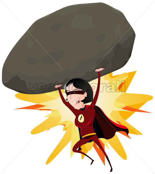 Comic Super Girl Throwing Big Rock - Vectorsforall