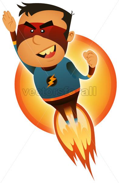 Comic Superhero Blasting Off - Vectorsforall