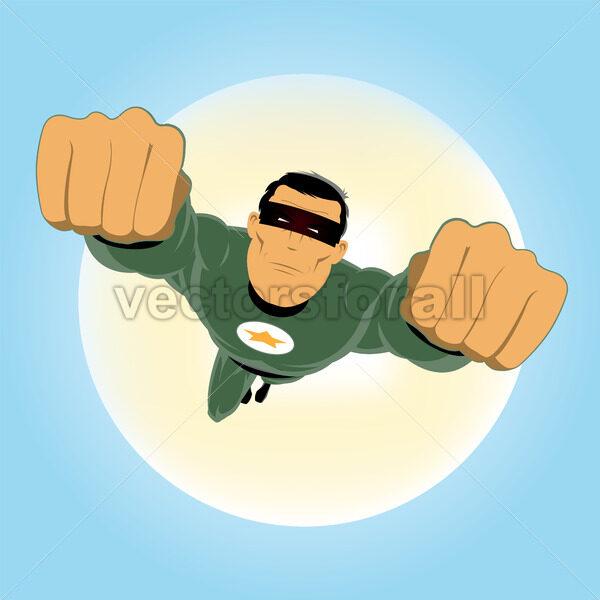 Comic-like Green Super-Hero - Vectorsforall